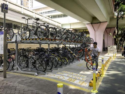 街道傢俱雙層單車泊架, 上水火車站, 2014