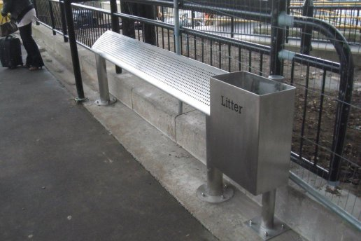 Street Furniture, Litter Bin & Perch Bench, UK, Program Contractors